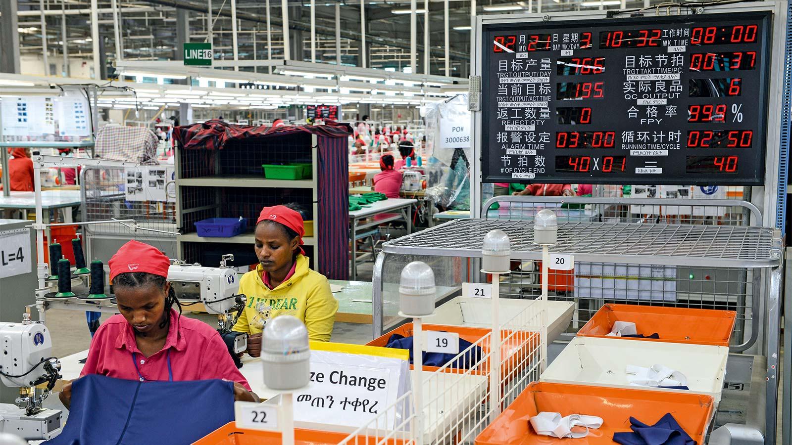 tchajwanská textilní společnosti Everest a její výrobní závod v Etiopii